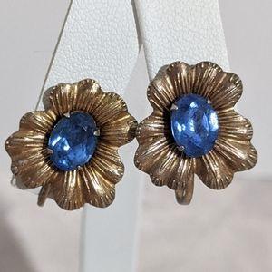 Vintage Blue Rhinestone Gold & Sterling Earrings
